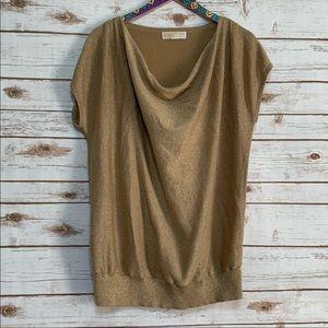 Michael Kors Shimmery Gold Short Sleeve Sweater